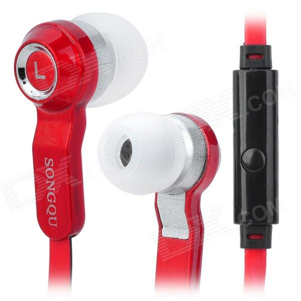 SQ-IP1012 Stylish In-Ear Earphones w/ Microphone - Red + Black (3.5mm Plug / 1.2m) songqu sq ip2011 stylish in ear earphones w microphone blue black white