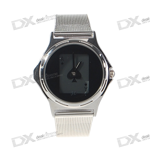 Magical Hidden Poker Card Stainless Steel Wristwatch