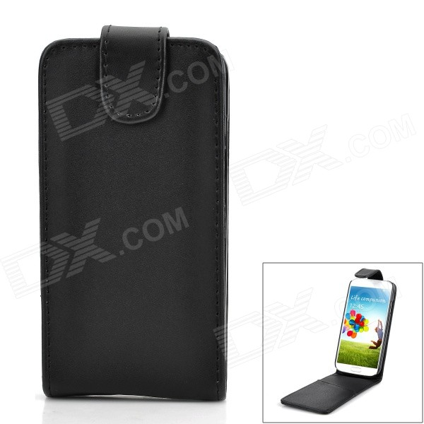 Protective PU Leather Top Flip-Open Case for Samsung Galaxy SIV / i9500 - Black protective flip open pu leather case for samsung galaxy s4 i9500 white