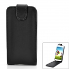 Protective PU Leather Top Flip-Open Case for Samsung Galaxy SIV / i9500 - Black