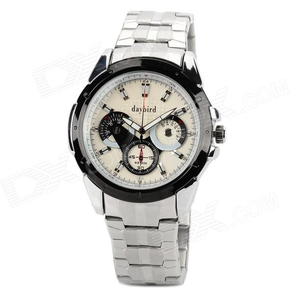 DAYBIRD 3755-W Man's Stainless Steel Analog Quartz Waterproof Wrist Watch - White + Black + Silver daybird 3755 w man s stainless steel analog quartz waterproof wrist watch white black silver