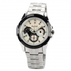 DAYBIRD 3755-W Man's Stainless Steel Analog Quartz Waterproof Wrist Watch - White + Black + Silver