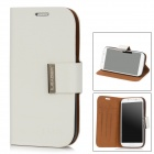Protective PU + Plastic Flip-open Case w/ Stand for Samsung i9500 - White