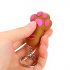 Cat Paw / Claw Style White Light LED Keyring - Brown + Deep Pink (3 x LR41)