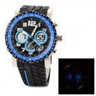 O.TAGE TGA2119-AD64 Man's Rubber Band Analog Quartz Waterproof Wrist Watch w/ Alarm - Blue + Black