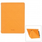 SAMDI Protective Quicksand Plastic Case w/ PU Leather Cover for Ipad 4 / The New Ipad - Brown