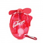 Portable Water Spray Cooling Fan w/ Carabiner Clip - Red (1 x AA)