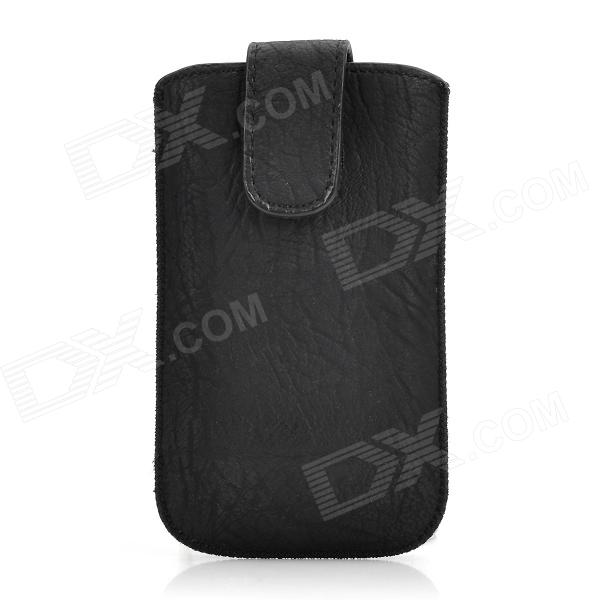 i4-BK-1 Protective PU Leather Case Pouch Bag for Iphone 4 - Black