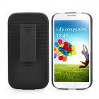 Horizontal Stripe Design Slideable Protective Plastic Back Case w/ Clip for Samsung i9500 - Black
