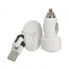 Car Charger + USB to 8-Pin Lightning Data / Charging Cable for iPhone 5 / iPad Mini - White