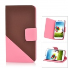 Protective Flip-Open PU Case w/ Card Slot for Samsung Galaxy S4 i9500 - Red + Black