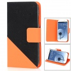 Protective PU Leather Case w/ Card Holder for Samsung Galaxy S4 i9500 - Black + Orange