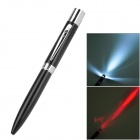 White Light LED Flashlight + 5mW 650nm Red Laser Pen - Black