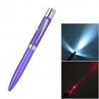 White Light LED Flashlight + 5mW 650nm Red Laser Pen - Purple