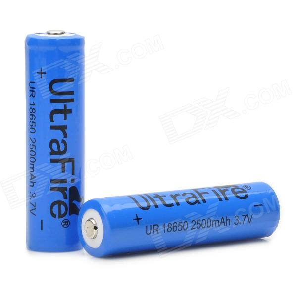 UltraFire 3.7V 2500mAh Lithium 18650 Batteries - Blue + Black (2 PCS) goop cr2025 3v lithium cell button batteries 5 x 10 pcs