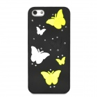 Protective Butterfly Pattern Plastic Case for Iphone 5 - Black