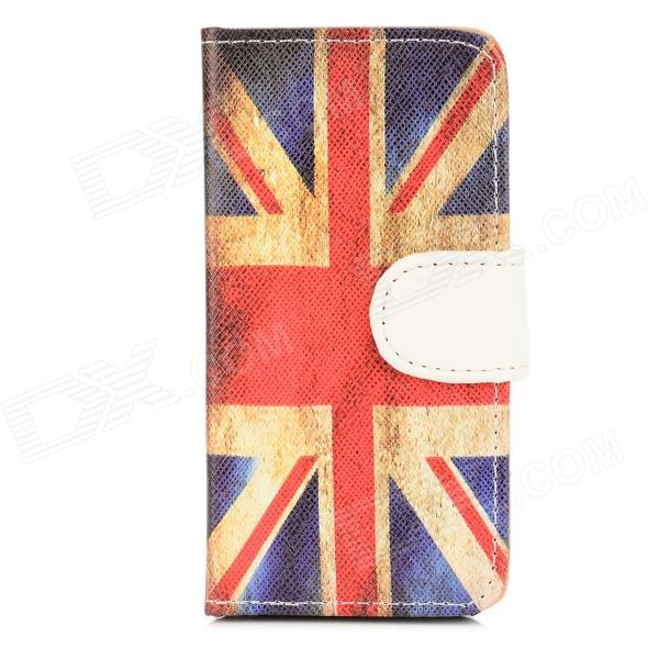 The UK Flag Pattern Protective PU Leather Flip-open Case for Iphone 5 - Blue + Red polka dots pattern pu leather flip open protective case for iphone 5 red
