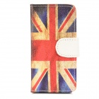 The UK Flag Pattern Protective PU Leather Flip-open Case for Iphone 5 - Blue + Red
