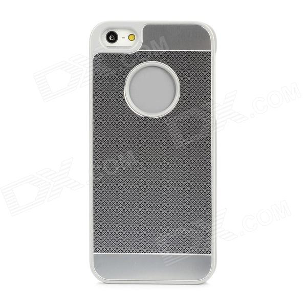 Thread Pattern Protective Aluminum Alloy + ABS Back Case for Iphone 5 - Silver