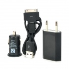 014 Car Cigarette Lighter Charger + EU Plug for iPhone 4 / 4S / Samsung N7100 - Black