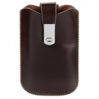 Protective PU Leather Case w/ Drawing Strap for iPhone 4 - Deep Brown