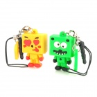 Cute Block Kid Couple's Cell Phone Charms w/ Anti-dust Plug (2-Charm Pack) - Yellow + Green
