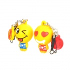 Xinghui Cute PVC Doll Couple's Cellphone Strap w/ Dust-proof Plug (1 Pair)- Yellow