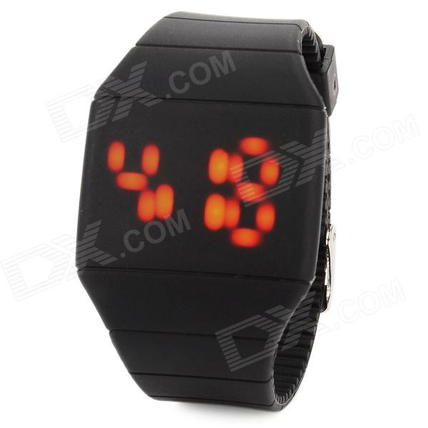 Creative Plastic Band Touch Screen Red LED Wrist Watch - Black (1 x CR2032) тент sol цвет оранжевый 440 х 440 см