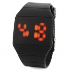 Creative Plastic Band Touch Screen Red LED Watch - Black (1*CR2032)