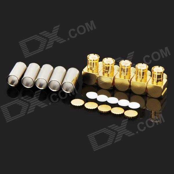 MCX-JW-1.5 Male Jack Right Angle Coaxial RF Connectors - Golden (5 PCS) 6089067 1 rf connectors coaxial connectors 8804 5004 94 mr li