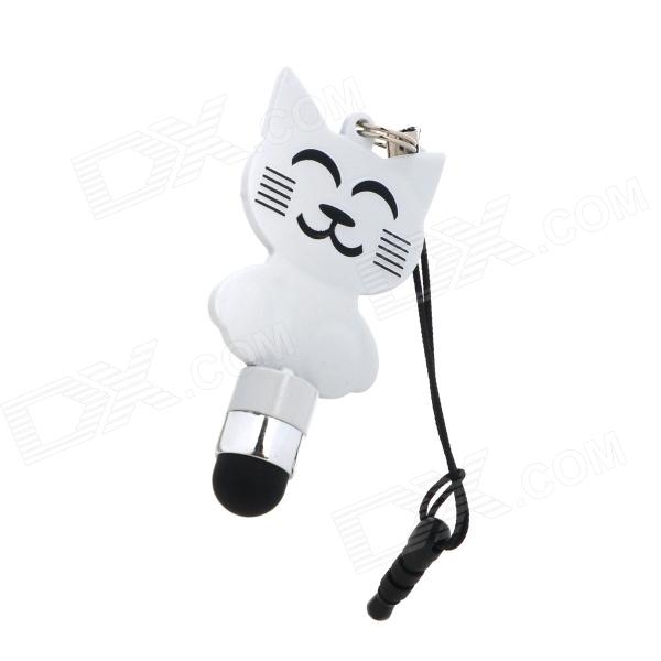 Cute KT Cat Capacitive Screen Stylus w/ 3.5mm Anti-dust Plug for Iphone 4 / 4S / 5 - White