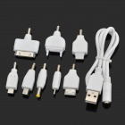 8-in-1 USB Power Charging Cable w/ Adapters for iPhone + Nokia + PSP + More - White