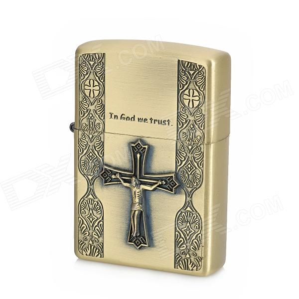 Litian JT2 Crucifixion of Jesus Pattern Zinc Alloy Kerosene Oil Lighter - Golden