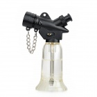 FS355 Plastic Windproof Butane Gas Lighter w/ Fire Lock Chain - Silver + Translucent Blue