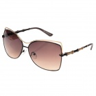 CARSHIRO S614-C4 Women's UV400 Protection Zinc Alloy Frame Resin Lens Sunglasses - Coffee