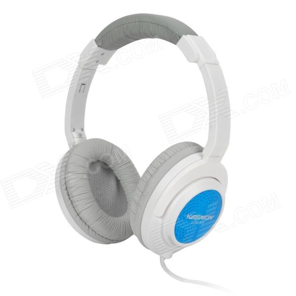 KEENION KDM-915 Wired 3.5mm Plug Headset Headphones w/ Microphone for Iphone / Ipad - White + Blue
