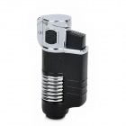 FS581 Windproof Torch Style Butane Gas Jet Lighter - Silver + Black