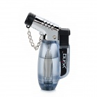 Windproof Butane Gas Jet Lighter w/ Keychain - Silver + Light Blue