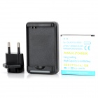 3.7V 2900mAh Backup Battery + US-plug Wall Charger + EU-plug Adapter for Samsung Galaxy S4 i9500