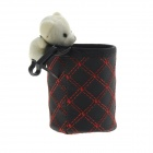 Cute Bear PU Leather Car Storage Holder - Red + Black