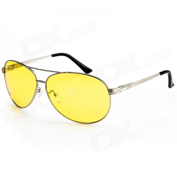 Reedoon 2102 Professional Riding Polarized Lens Anti-Glare Night Driving Glasses - Yellow + Silver carshiro 9150 uv400 protection resin lens polarized night vision driving glasses