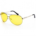 Reedoon 2102 Professional Riding Polarized Lens Anti-Glare Night Driving Glasses - Yellow + Silver