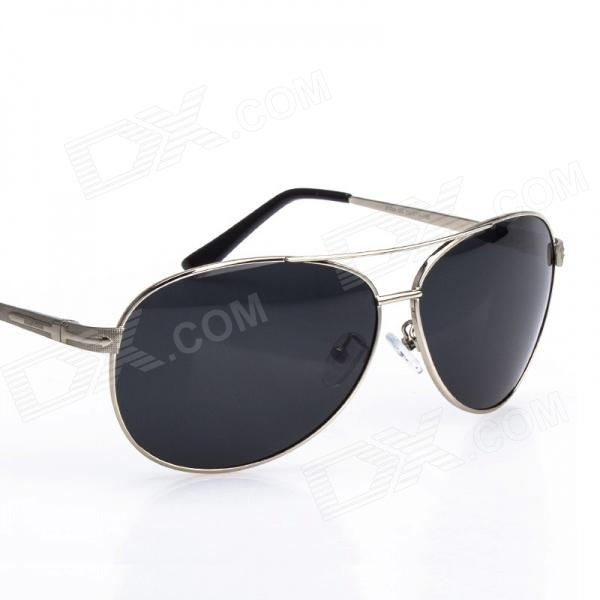 Reedoon 1310B Unisex Polarized UV400 Protection Resin Lens Sunglasses - Silver + Grey reedoon 6488 men s fashionable resin lens uv400 protection polarized sunglasses silver grey