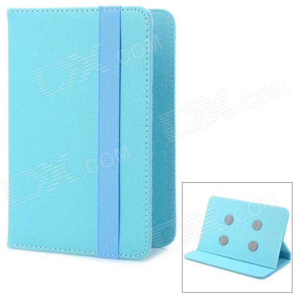 Universal Lychee Pattern Protective PU Leather Case for 7 Tablet PC - Blue universal 61 key bluetooth keyboard w pu leather case for 7 8 tablet pc black