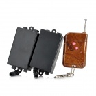TAD-K62 2-Channel Wireless Remote Control Switch Set - Black + Wood (110~240V)