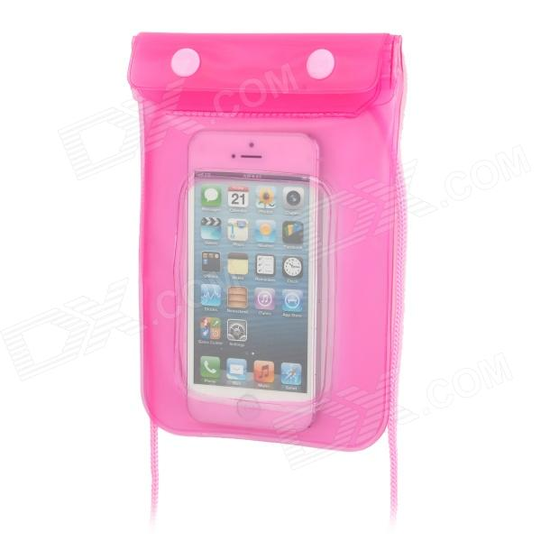 Waterproof Bag w/ Strap for 5'' Cell Phone + Iphone 5 / 4 - Pink universal stylish waterproof bag with sport armband for iphone cell phone white black
