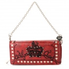 ALGON QUINS Retro PVC Embroidery Wallet for Women - Red