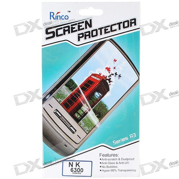 Rinco LCD Screen Protector for Nokia 6300 Cell Phones