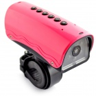 YDDVF Bike Mount 300KP Wide Angle Sports DVR Camcorder w/ TF / FM / Speaker / Flashlight - Deep Pink