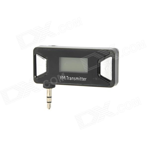 Rechargeable 0.7'' LCD Display FM Transmitter w/ 3.5mm Plug for Iphone 5 - Black